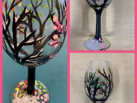 Wineglass Painting - 4 seasons on one Glass!