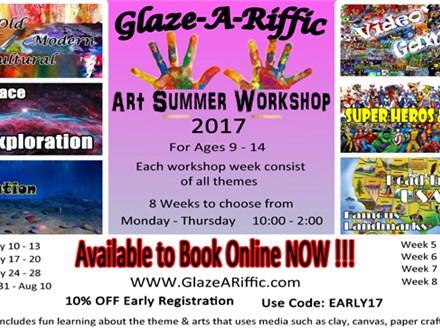 Art Summer Workshop at Glaze-A-Riffic Week 5 - 8/7-10