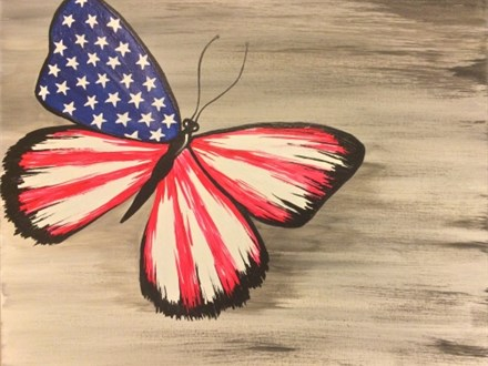 Flag Butterfly Paint Night (Toni) 7/18 6-9PM
