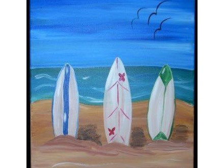Surf's Up Cookies & Canvas Class July 16th BUY ONE GET ONE FREE