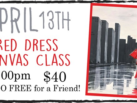 April 13th Red Dress in the Rain Canvas Class