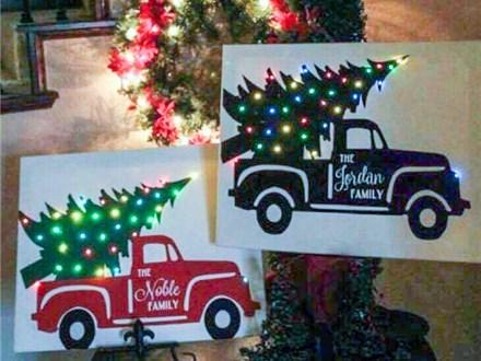 Vintage truck canvas with lights  Vintage Truck Canvas with lights