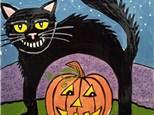 Kids Canvas Class - Halloween Cat & Pumpkin