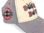 Red, Cream and Black tweed stitched ball cap