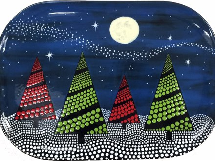 "THURSDAY 11/02/17 6pm to 8:30pm ""Dots Tree Platter"" 16 and up Great platter for the holidays. $39.9"