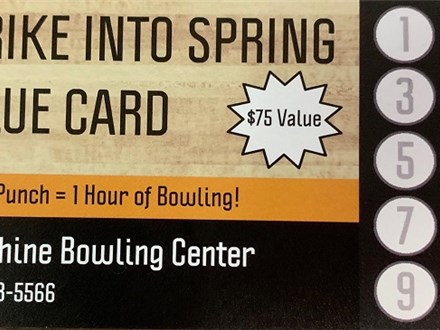 Strike Into Spring Value Card at Sunshine Bowling Center