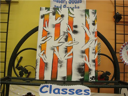 Birch Trees Canvas Class at PAINT YOUR WORLD