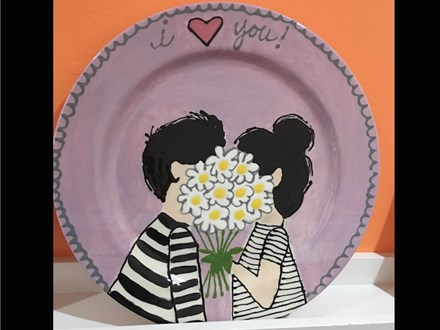 """I Love You"" Pottery Painting Night! Saturday, February 3rd 7-9p"