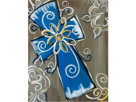 """Swirly Cross"" Canvas Class, November 10th"