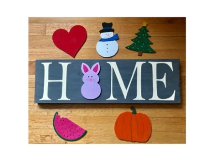Home sign with interchangeable seasons