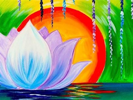 Zen Lotus Flower - Canvas - Paint and Sip