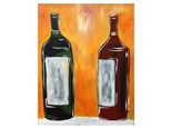 Adult Class Wine Bottles Canvas Painting 07/11