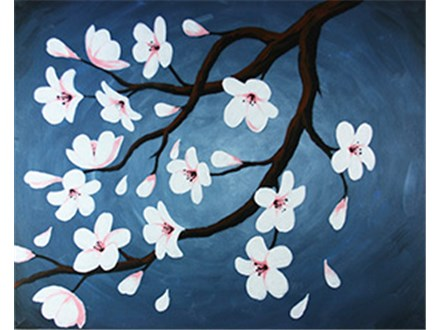Canvas & Wine Night!  Cherry Blossoms!  3/3/16