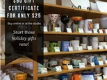 Brushfire Pottery Studio FLASH SALE! $50 Gift Certificate For $25