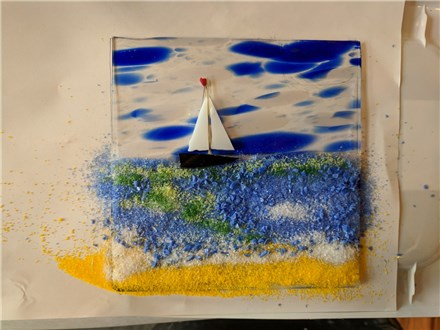 Fused glass class a ship in the sea