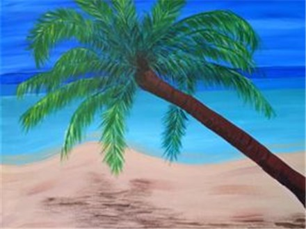 Canvas & Wine Night!  Palm Tree Beach!  11/14/16
