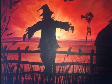 """Canvas Night! """"Sunset Scarecrow"""" Saturday, September 23rd 7-10"""