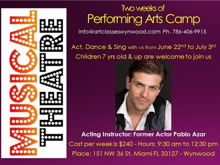 Theater Summer Camp Week of: June 29th in Wynwood