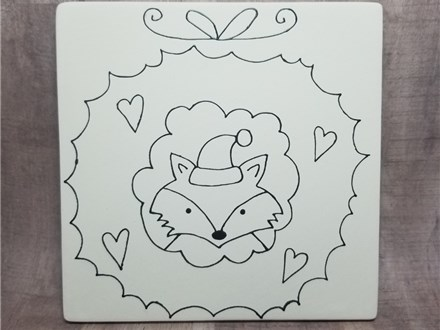 Christmas Wreath Tile (6 inch square) - Ready to Paint