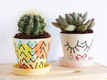""""""" Sweetheart Planters w/ saucer"""" To-Go Kit-at Color Me Mine - Aspen"""