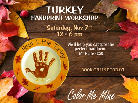 Little Turkey Handprint Plate Workshop - November 7
