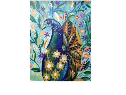 Peacock and Flowers - Canvas - Paint and Sip