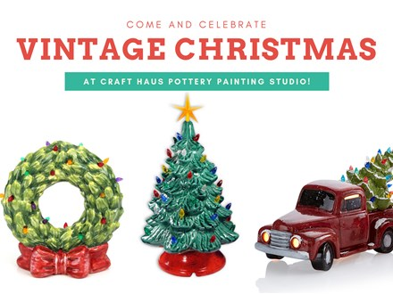 Vintage Light Up Christmas Tree Paint Night at Craft Haus