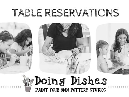 Table reservation for 6 at Doing Dishes Pottery Studios, San Jose
