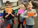 "For our ""math craft,"" students created cards, then made envelopes using mathematical measurements and decorated them!"