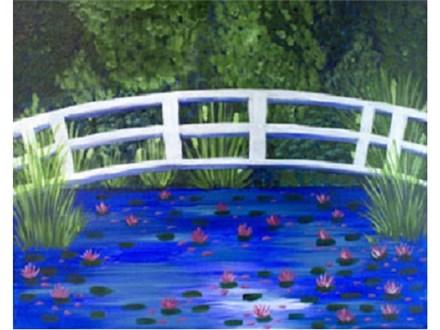 Canvas & Wine Night!  Bridge Over Lilies!  4/13/17