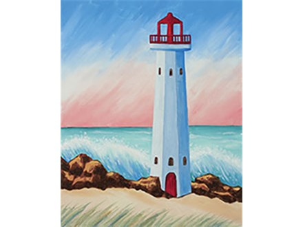 "SATURDAY NIGHT 4/28/18 7:30pm to 9:30pm ""Coastal Lighthouse"" Canvas Painting & Sip $25.00 plus tax"