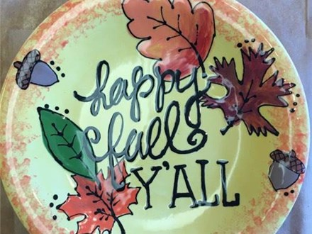 Pottery Painting - Happy Fall Coupe Plate - Evening Session - 11.09.17