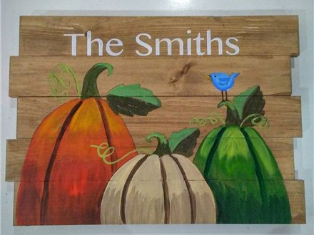 Thanksgiving Pumpkins Board Painting Class