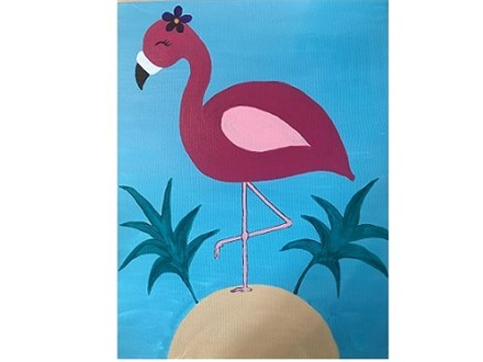 Canvas & Wine Night! Art Deco Flamingo! 3/15/19