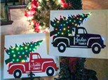 Vintage Christmas Truck Canvas & Candle