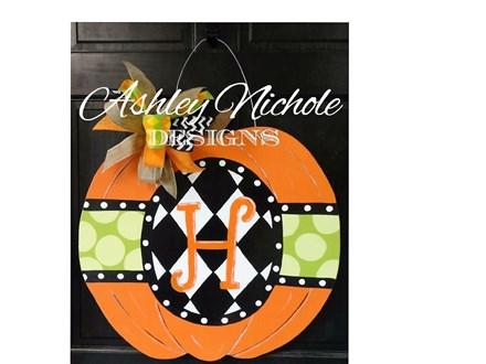 VOS Craft Club Harlequin Pumpkin Door Hanger