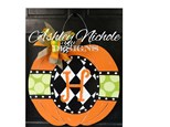 VOS Craft Club Harlequin Pumpkin Door Hanger