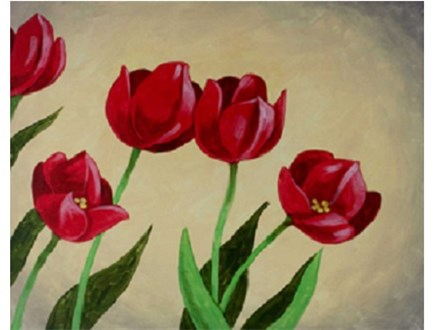 Canvas & Wine Night! Tulips Are Red! 5/18/17