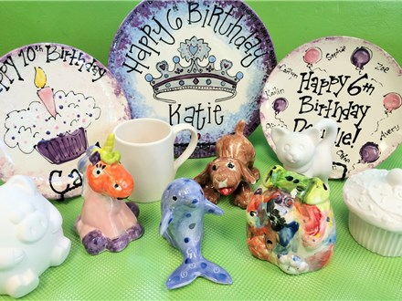 """Possible party painting options, before and after!  All parties come with a 8"""" party plate with a cupcake or balloon design. You can upgrade to a larger or custom plate on the date of your party!"""