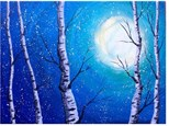 Snow Falling On Birch Trees - Canvas - Paint and Sip