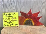 You Had Me at Merlot - Fused Glass Red Sunflower - Sept 21st