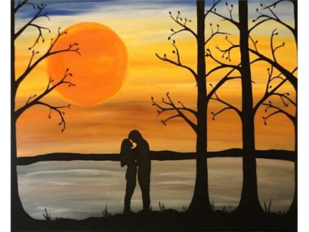 Romantic Sunset Canvas and Cocktails