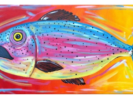 Tropical Fish - 10x20 canvas *Stencil provided - Couples can reverse the image.