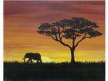 Serengeti Sunset - elephant example **add your choice animal (stencil provided lion, elephant or giraffe).