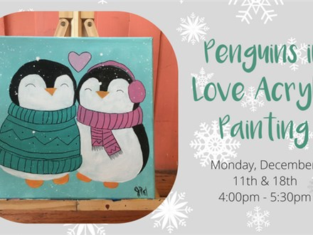 Penguins in Love Acrylic Painting Class