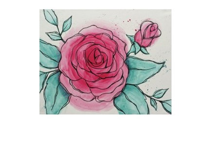 Watercolor Rose - Canvas - Paint and Sip
