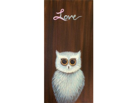 Pink Ribbon - Faith Hope Love Owl - 10x20