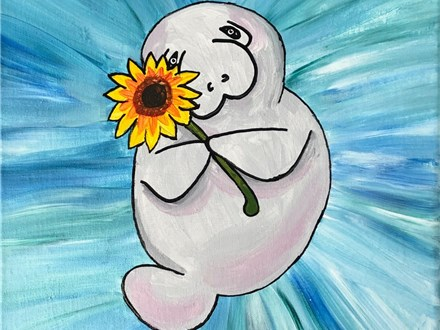 "05/11/19 SATURDAY MORNING 10:00-11:30am ""Manatee"" Kids & Family Canvas Painting PLEASE READ DESCRIP"