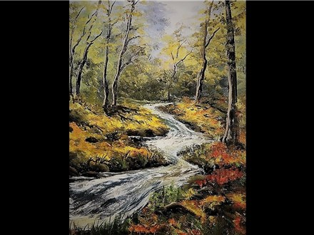 "10/26 GA. Oil: ""Rushing River Autumn"" 10 AM $45"