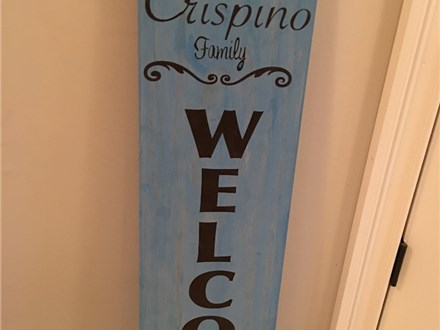 """Board Art at Fire Me Up! Studio - """"Welcome Sign"""""""